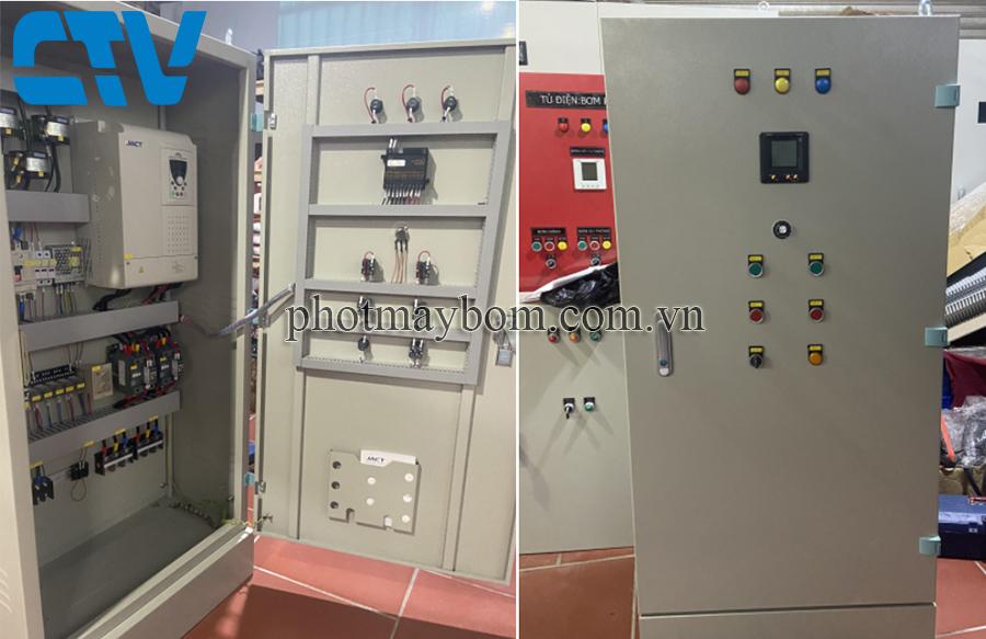 Tủ điện điều khiển bằng biến tần sử dụng cho hệ thống 2 bơm tăng áp